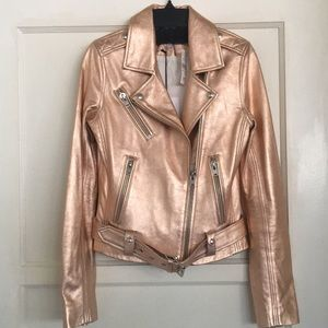 IRO Brooklyn Rose Gold Leather Motorcycle Jacket